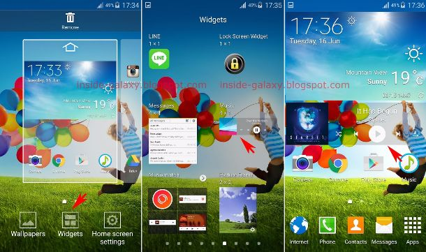 add widget to home screen in Galaxy S4 with Android 5 Lollipop